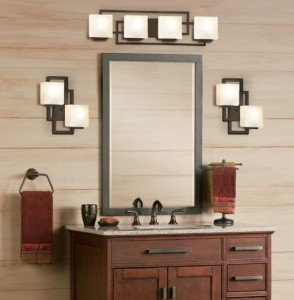 lights and mirrors for a small bathroom