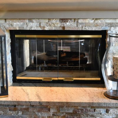 Peninsula Fireplace in Home Remodel