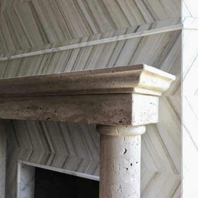 Natural Stone and Chevron Style Fireplace